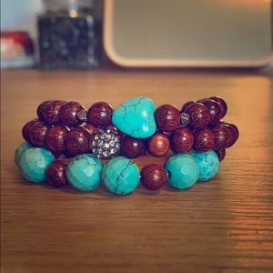 Wood and Turquoise 3 piece Bracelet stack